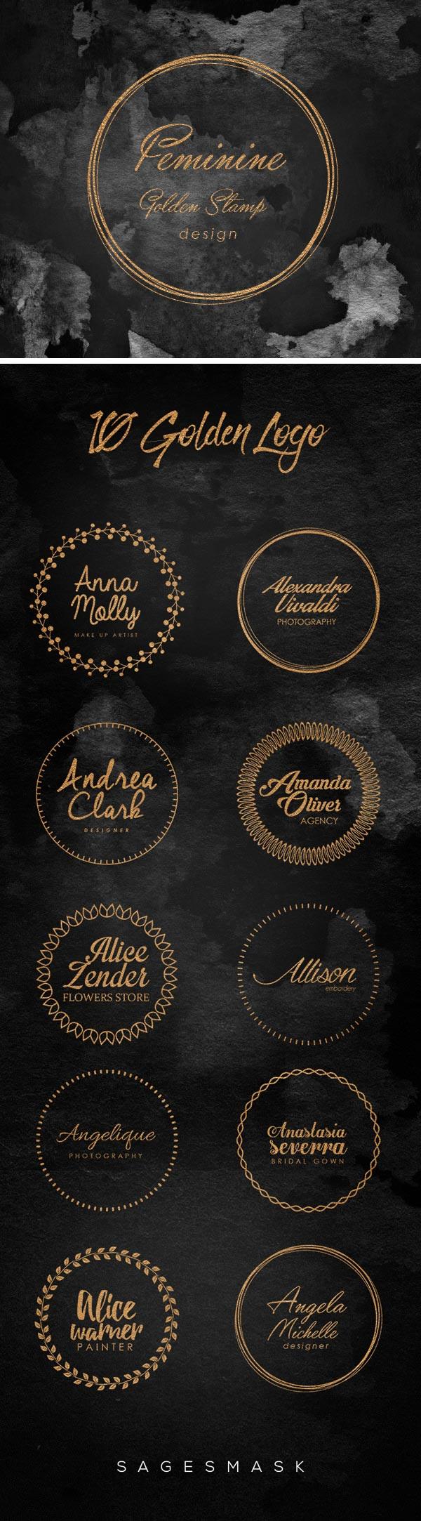 黄金印戳标志模板