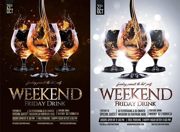 周末酒会狂欢海报