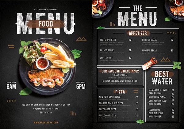 西餐厅菜单,美味海鲜,价目表,西式餐厅,菜单设计,黑色机理背景,美食