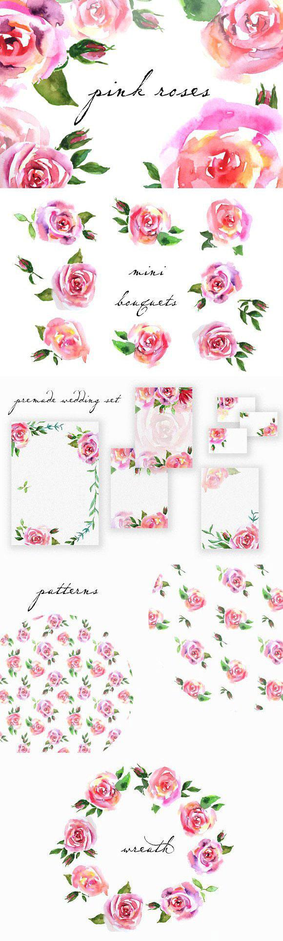 5 点 关键词: 漂亮手绘玫瑰花psd分层素材,粉红玫瑰花,手绘花卉,花环