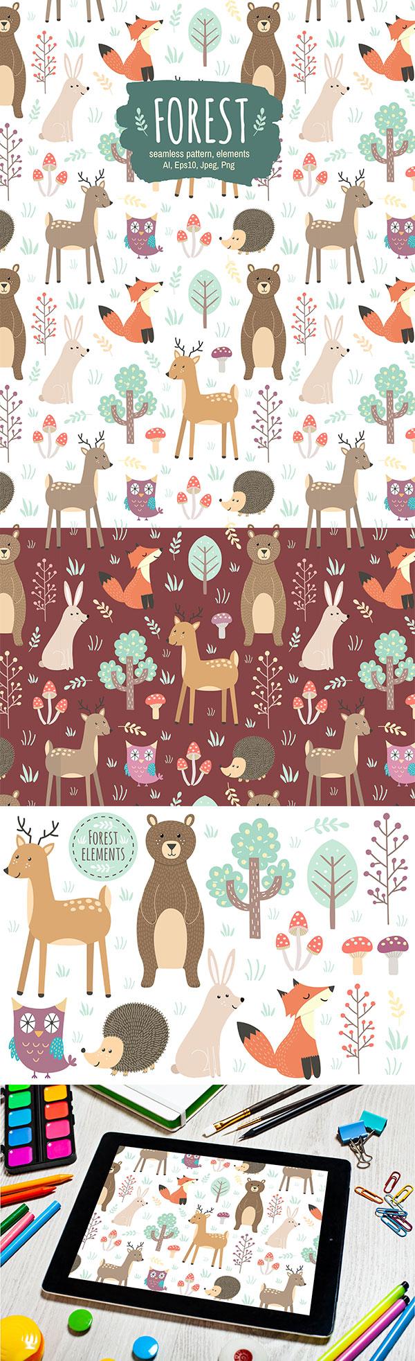 素材分类: 矢量区所需点数: 5 点 关键词: 可爱的卡通森林动物无缝素