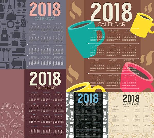 矢量区所需点数: 3 点 关键词: 马克杯等元素2018日历设计矢量素材
