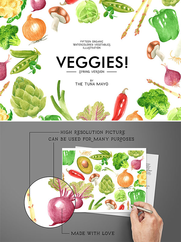 水彩手绘蔬菜
