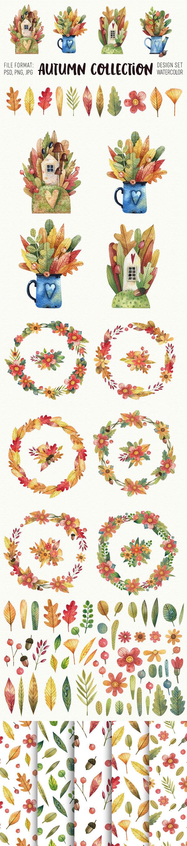 树叶主题psd分层素材,手绘水彩插图,秋天的树叶,房子,鲜花,花环,落叶