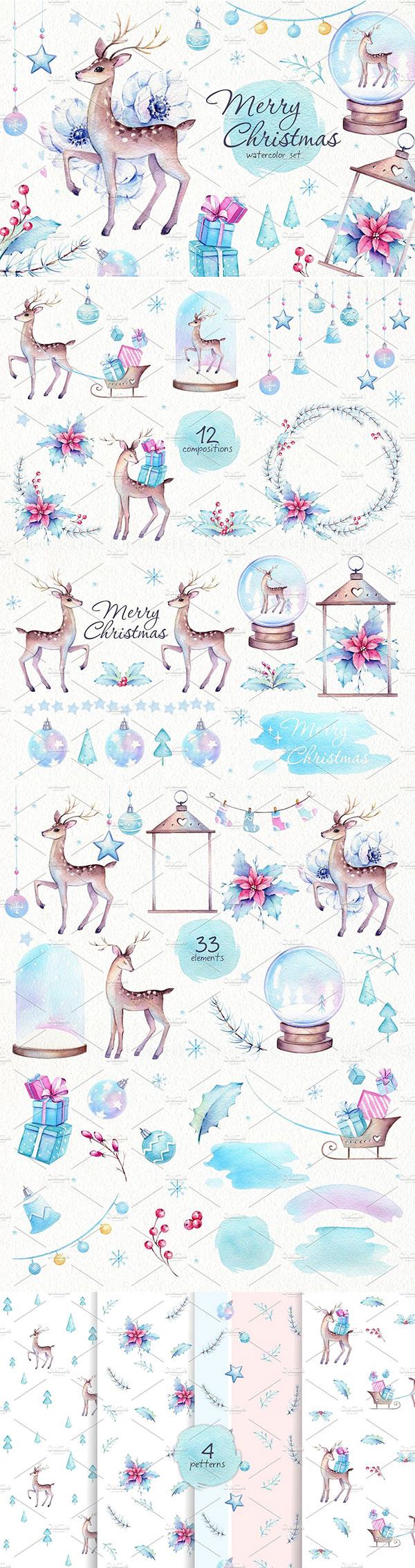 圣诞麋鹿水彩元素