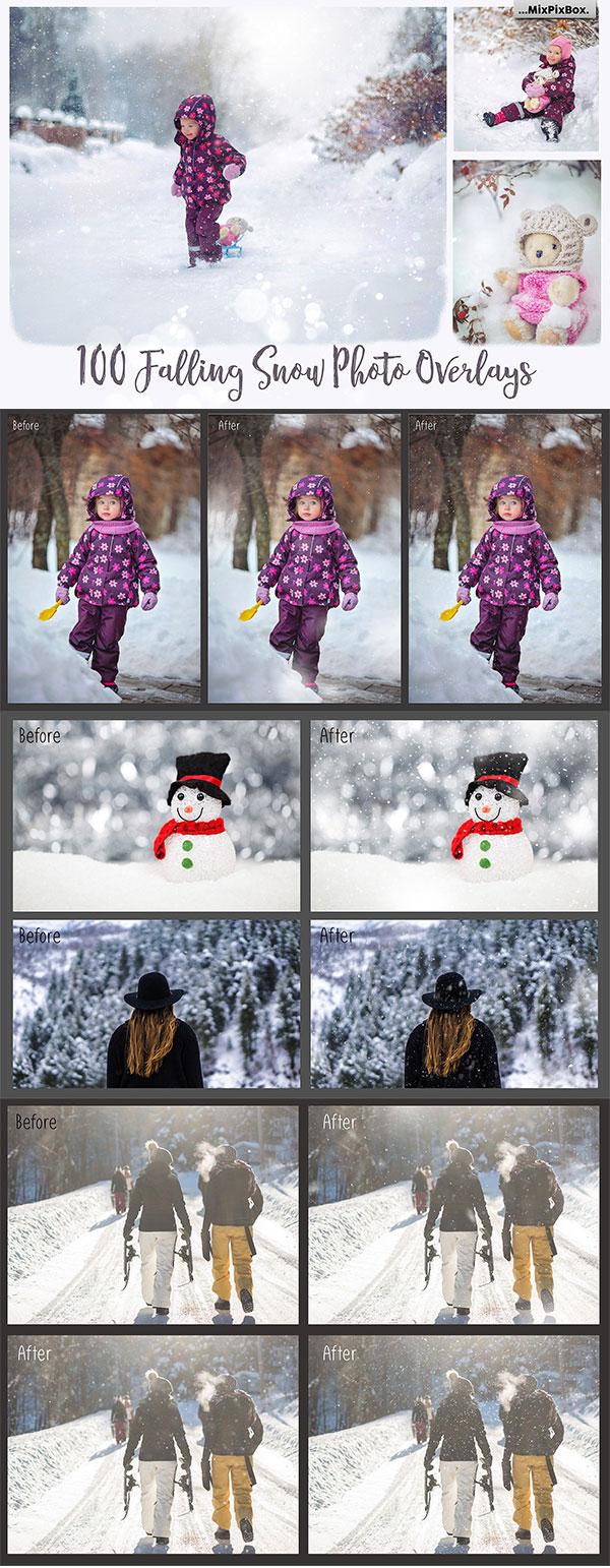 雪花照片叠层素材