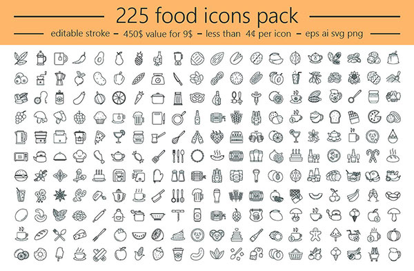 食物类线性图标