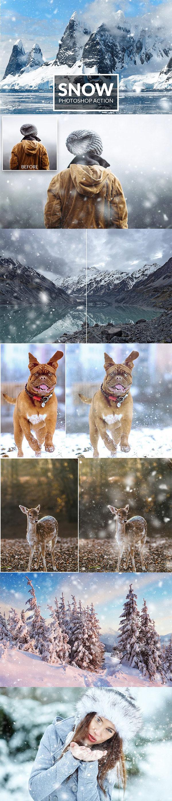 雪景效果PS动作