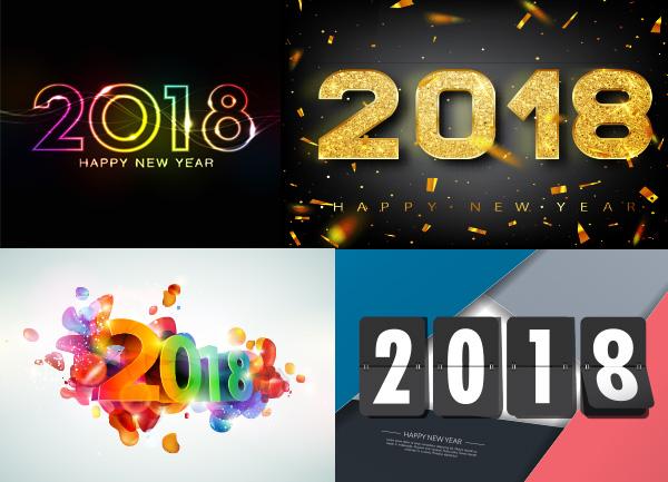 字体设计矢量素材,炫酷2018字体,2018年新年海报,炫彩金色粒子效果,立
