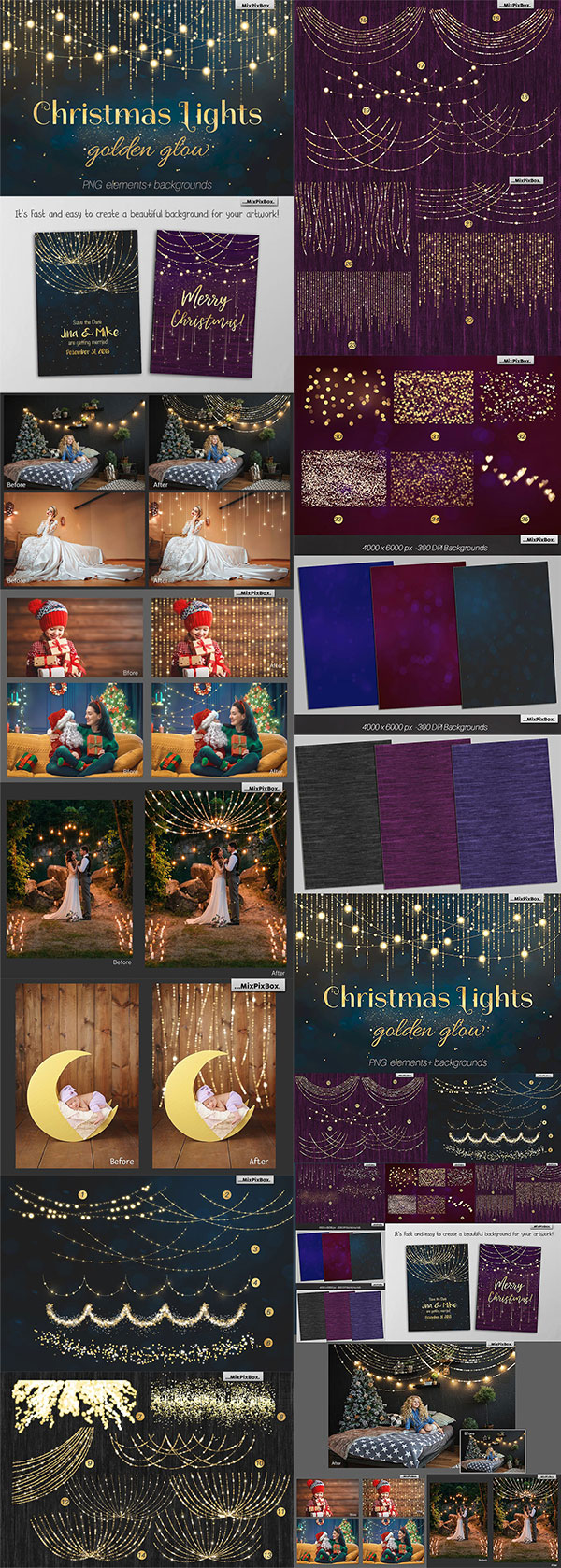 圣诞挂灯叠加素材
