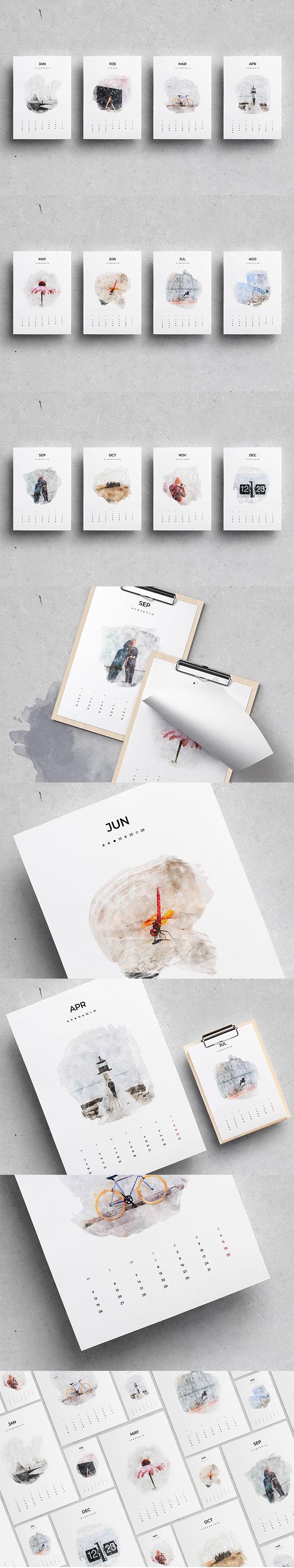 2018水彩ID日历