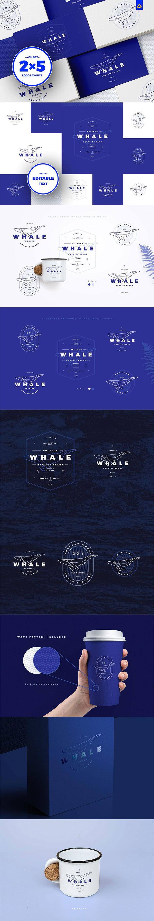 多边形鲸鱼LOGO