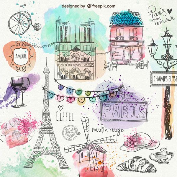 巴黎印象手绘涂鸦素材,巴黎印象,手绘,涂鸦,巴黎铁塔,面包,路灯,咖啡