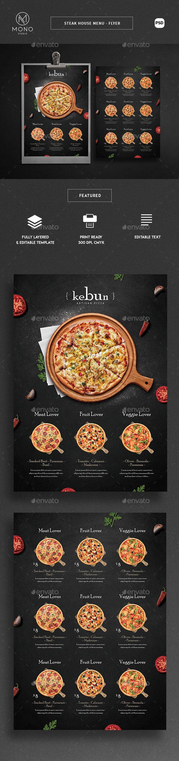 披萨菜单设计模板