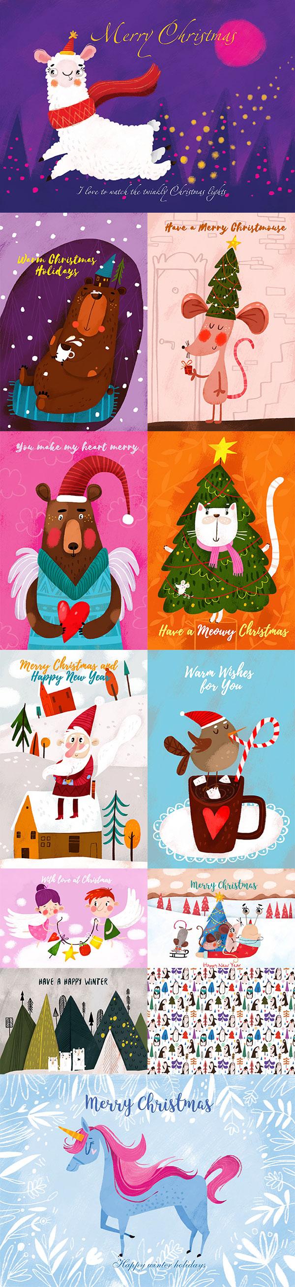 12张可爱手绘圣诞节明信片,圣诞明信片,可爱,熊,美洲驼,马,鼠标,冬天