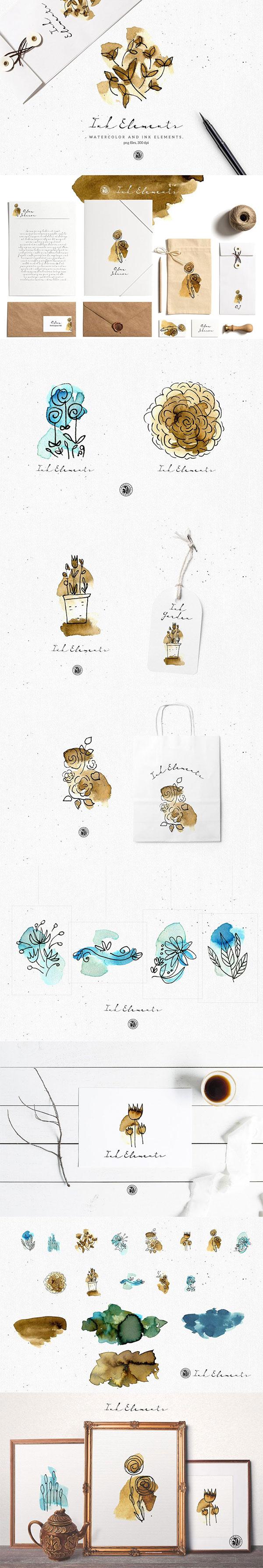 写意水墨花卉元素