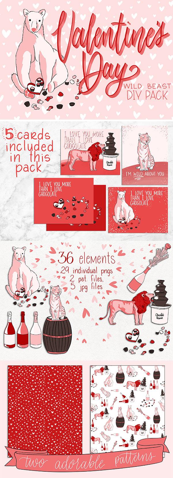 素材分类: 元素插画所需点数: 6 点 关键词: 手绘粉色野生动物情人节
