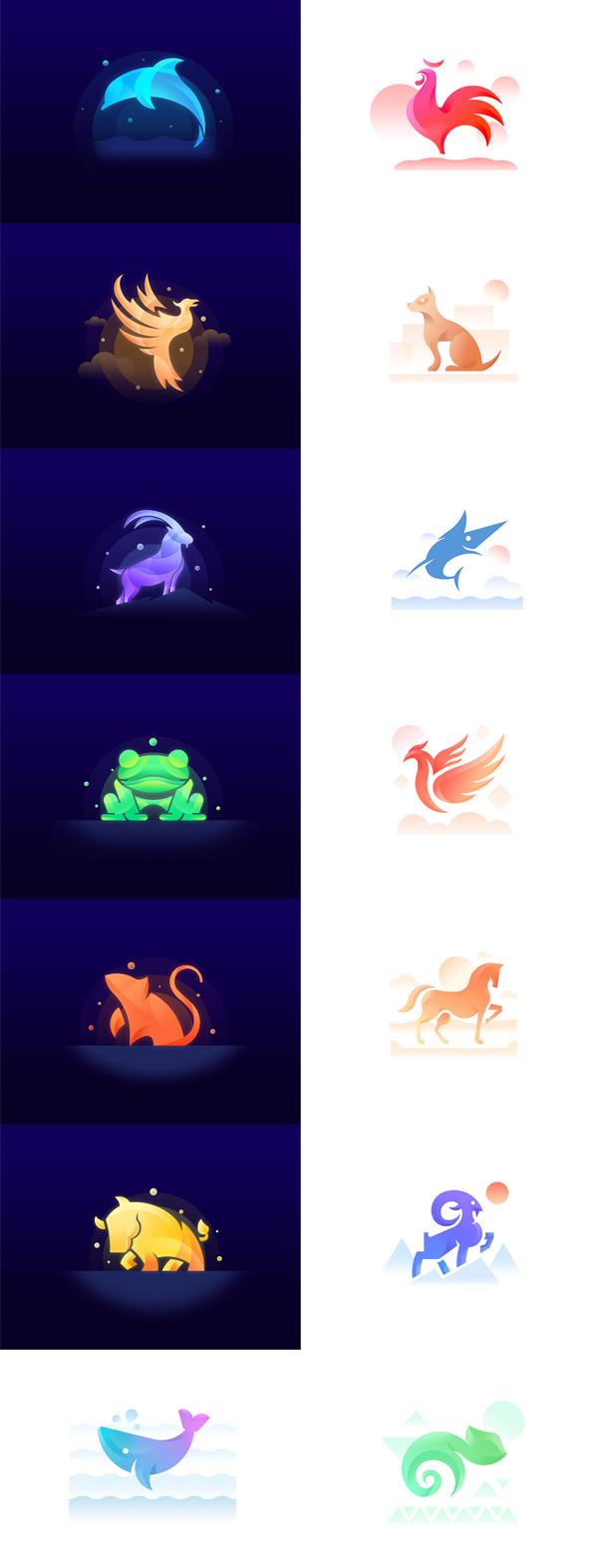 14个幻彩扁平化动物主题标志psd分层素材,,抽象动物logo,扁平化简约