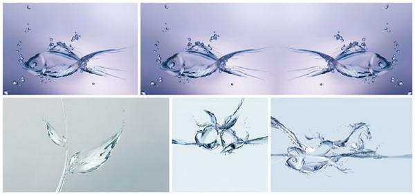 骏马,奔跑,鱼,水中游,叶子形状,树叶,金鱼,动感水珠,创意图片,设计图片