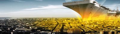 驶向城市的航空母