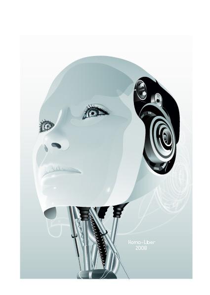 矢量女性机器人