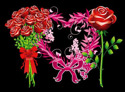玫瑰花与花纹心形