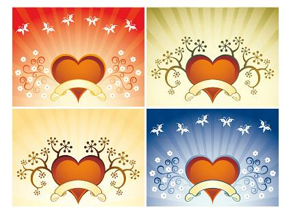 4季花纹心形