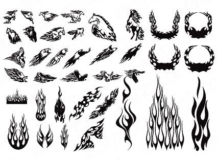 大臂火焰图腾纹身图案作品图片