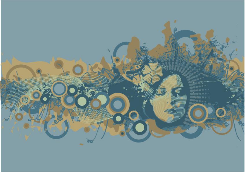eps格式,矢量素材,矢量人物,女性,剪影,圆形,花纹,花朵,头发,侧面图片