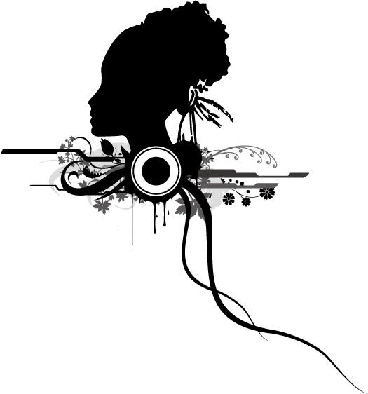 eps格式,矢量素材,矢量人物,女性,剪影,圆形,花纹,花朵,头发,侧面