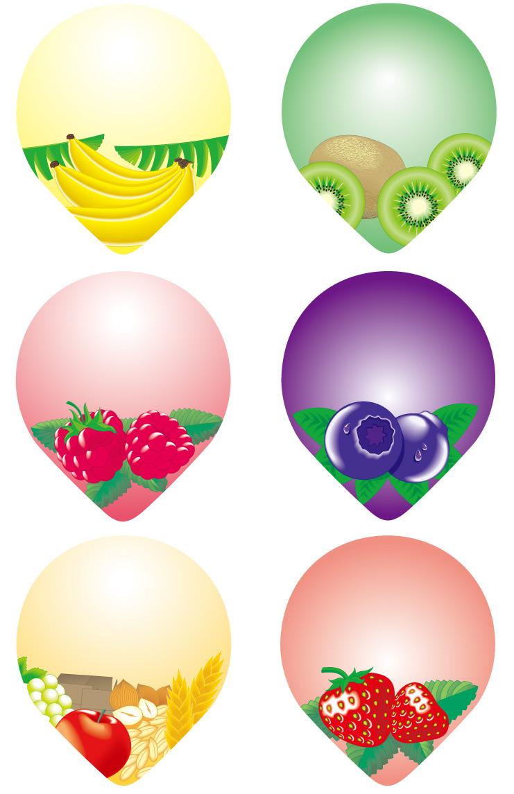 水滴形状水果图标
