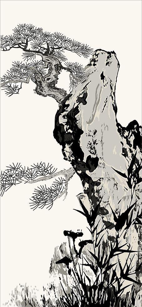 中国画松树和山石