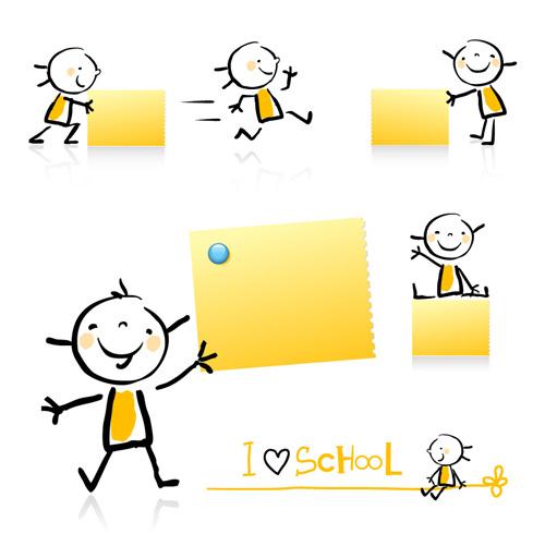 素材分类: 矢量卡通角色所需点数: 0 点 关键词: 可爱小孩与便签纸