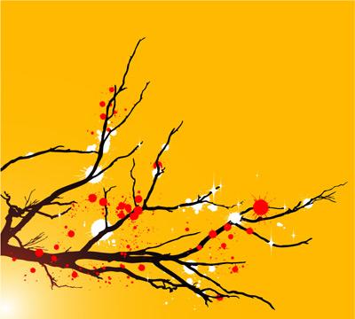 墨迹梅花树枝
