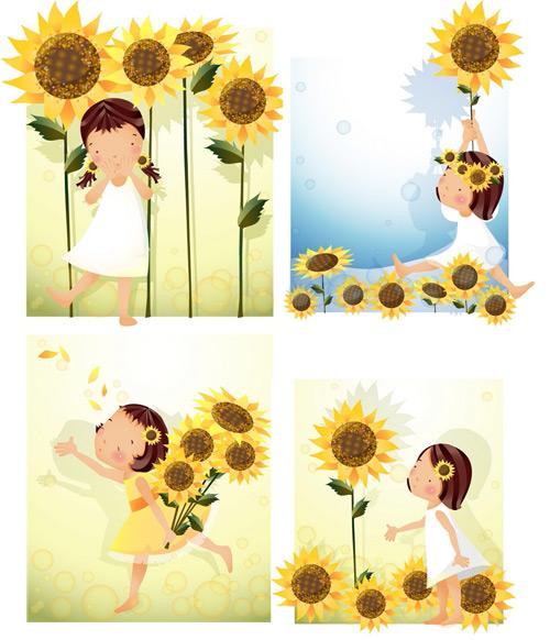 女孩-向日葵主题