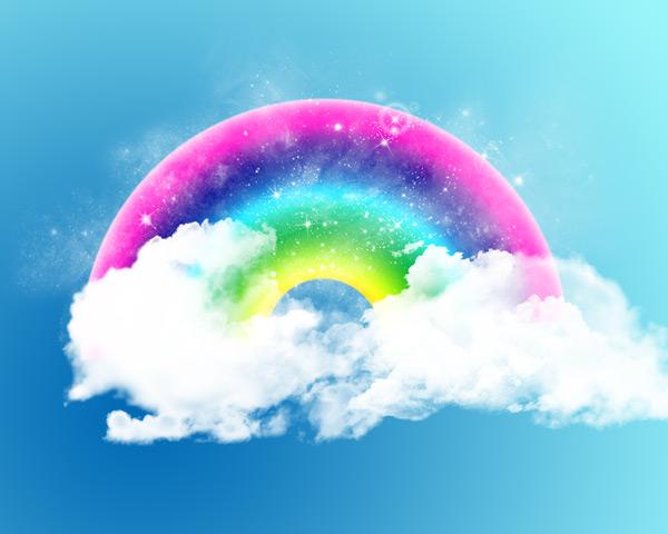1280x1024,彩虹,云朵