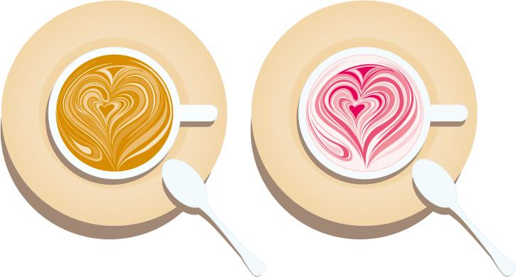 矢量咖啡花纹