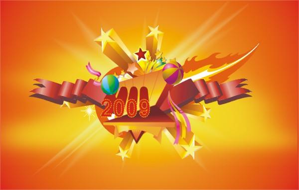 关键词: 新年素材,2009,五角星,彩带,花纹.