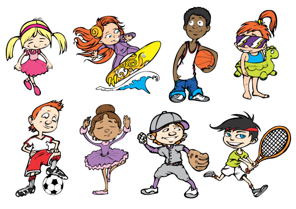Cartoon sports figures
