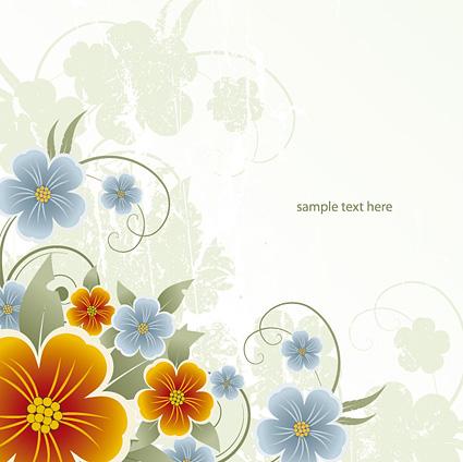 黄色和蓝色花朵_矢量花纹