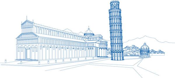 简笔画风景步骤建筑类斜塔