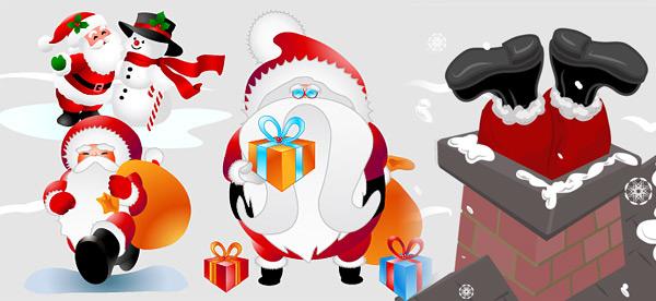 eps格式,矢量圣诞节,圣诞老人,烟囱,雪人,圣诞帽子,礼物,矢量素材