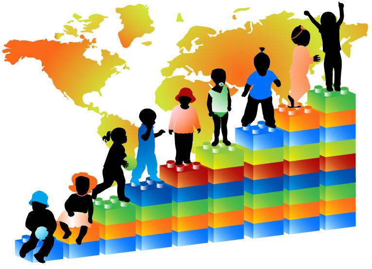 儿童剪影与地图_素材中国sccnn.com