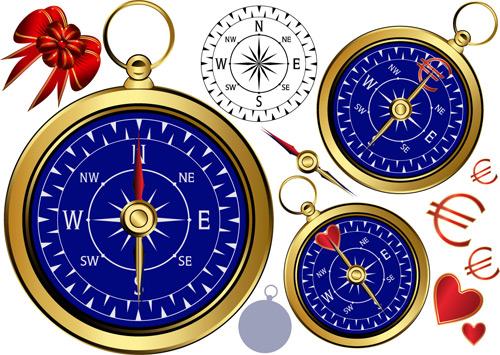 金色指南针矢量