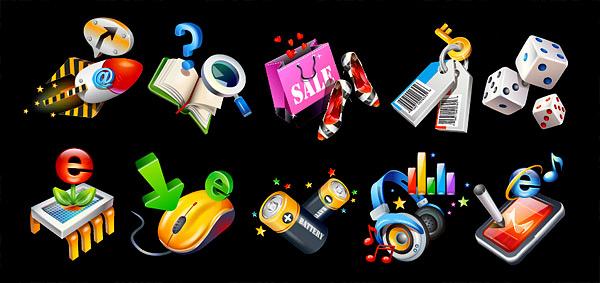 3D质感图标系列矢量素材-6,ai格式,矢量图标,火箭,箭头,书本,帮助,问号,放大镜,查找,搜索,sale,购物袋,手挽袋,高跟鞋,钥匙,色子,电脑芯片,e,立体箭头,电脑鼠标,电池,星星,音乐,音符,耳机,音量,PDA,IE,矢量素材