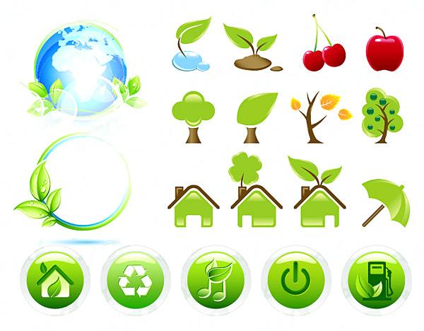 个环保主题图标矢量素材,eps格式,矢量环保,地球树叶,大树,生长,秋天