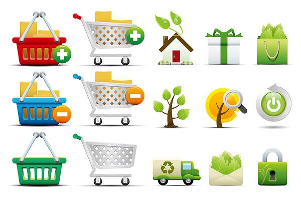 环保 购物/购物和环保图标...