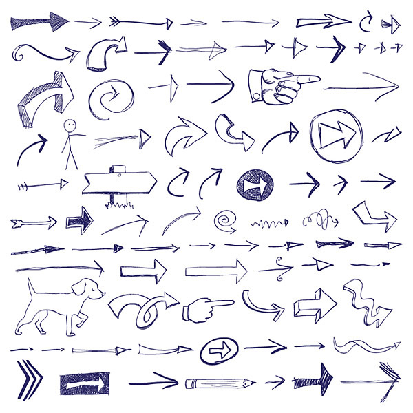 eps格式,矢量图标,涂鸦风格,手绘,箭头,方向,指示,手势,铅笔,小狗