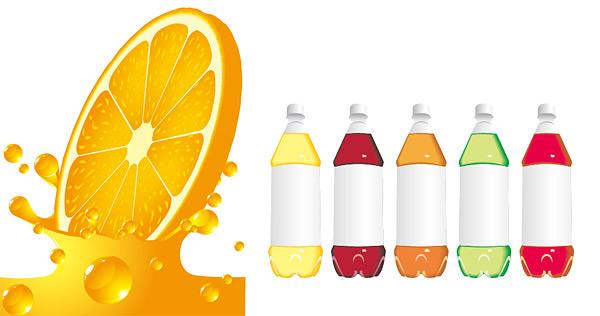 橙汁与饮料瓶
