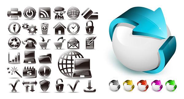 eps格式,矢量图标,圆球,立体箭头,打印机,关机,rss,聊天,地球,银行卡